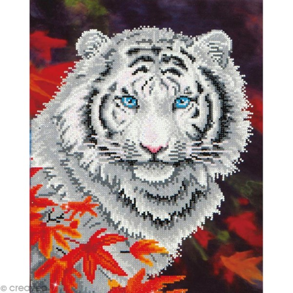 Grand Kit broderie Diamond painting - Diamond Dotz - Tigre blanc - 35,5 x 45,7 cm - Photo n°1