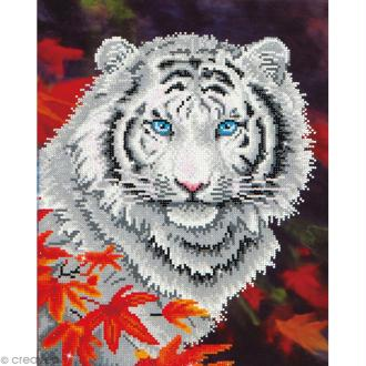Grand Kit broderie Diamond painting - Diamond Dotz - Tigre blanc - 35,5 x 45,7 cm