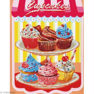Grand Kit broderie Diamond painting - Diamond Dotz - Cupcakes - 40,6 x 50,8 cm