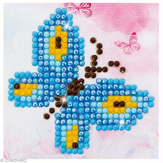 Petit Kit broderie Diamond painting - Diamond Dotz - Papillon bleu - 7,6 x 7,6 cm