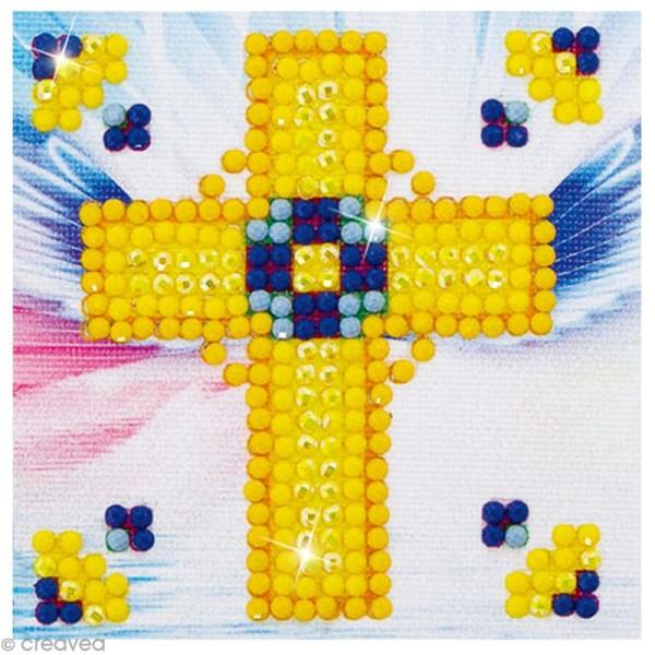 Petit Kit broderie Diamond painting - Diamond Dotz - Croix dorée - 7,6 x 7,6 cm - Photo n°1