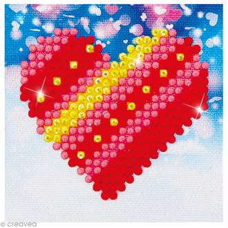 Petit Kit broderie Diamond painting - Diamond Dotz - coeur à rayures - 7,6 x 7,6 cm