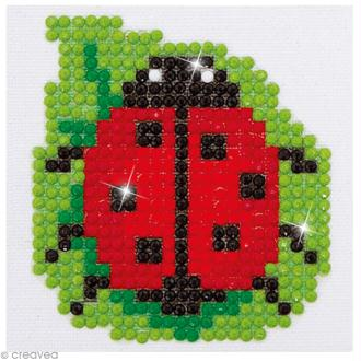 Petit Kit broderie Diamond painting - Diamond Dotz - petite coccinelle - 7,6 x 7,6 cm