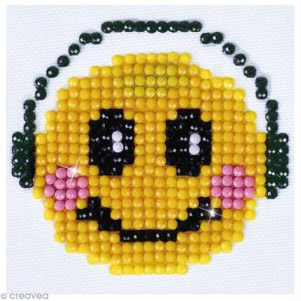 Petit Kit broderie Diamond painting - Diamond Dotz - Smiley musique - 7,6 x 7,6 cm