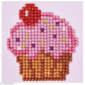 Petit Kit broderie Diamond painting - Diamond Dotz - Cupcake rose - 7,6 x 7,6 cm
