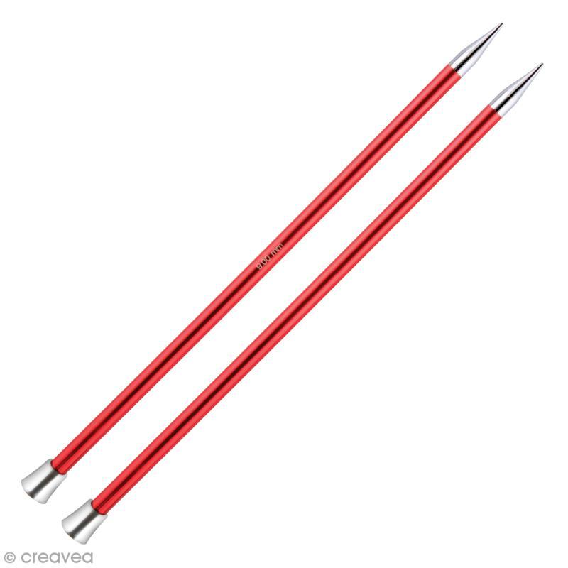 Aiguille à tricoter Aluminium coloré 40 cm - 9 mm - Rouge - 1 paire - Photo n°1