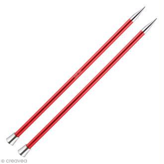 Aiguille à tricoter Aluminium coloré 40 cm - 9 mm - Rouge - 1 paire