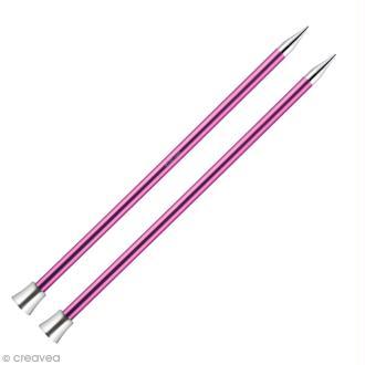 Aiguille à tricoter Aluminium coloré 40 cm - 10 mm - Rose vif - 1 paire