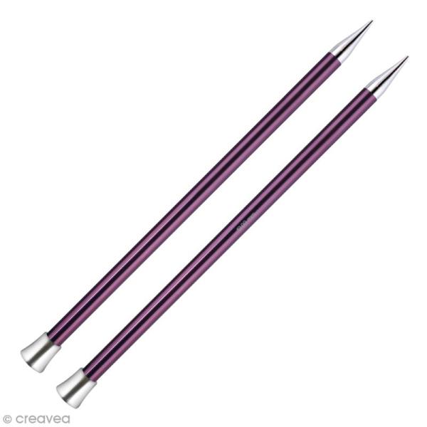 Aiguille à tricoter Aluminium coloré 40 cm - N°12 - Violet foncé - 1 paire - Photo n°1