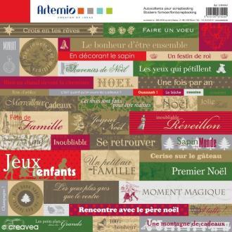 Stickers Noël Classique x 45 - 1 planche 30,5 x 30,5 cm