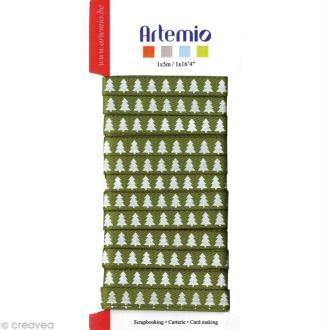 Ruban Artemio Noël - vert Sapin blanc x 5 m