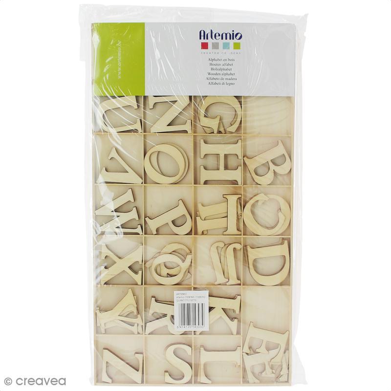 Grand alphabet en bois - boîte de 130 pièces - Photo n°1