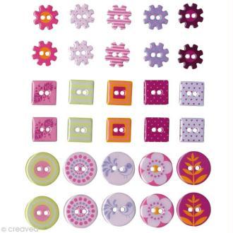 Boutons Epoxy Flowers x 30
