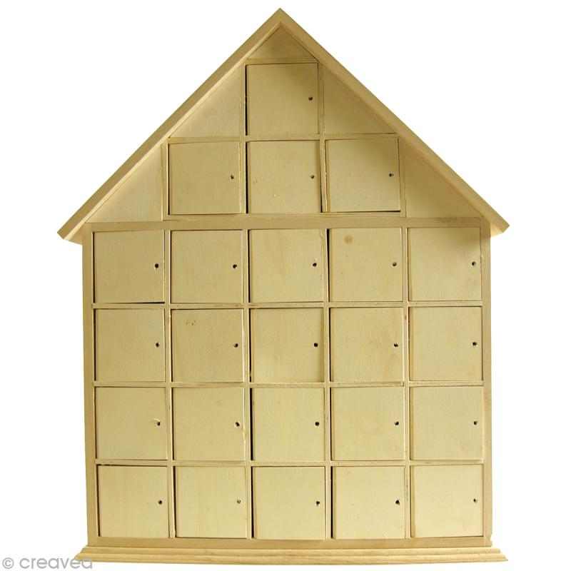 Calendrier de l 39 avent en bois maison 44 5 cm calendrier de l 39 avent creavea - Support calendrier de l avent ...