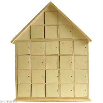 Calendrier de l'avent en bois - Maison - 44,5 cm