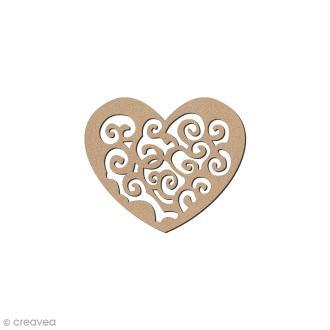 Ornement en bois - Coeur Baroque - 4,5 x 3,5 cm