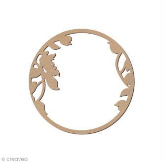 Ornement en bois - Cadre rond fleuri - 7 cm