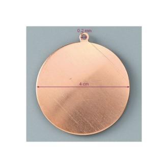 Pendentif en cuivre Rond , diam. 4 cm, émaillage à froid, support en aluminium