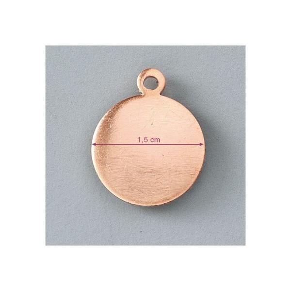 Pendentif en cuivre Rond 1 trou, ébauche de ø 1.5 cm, émaillage à froid - Photo n°1