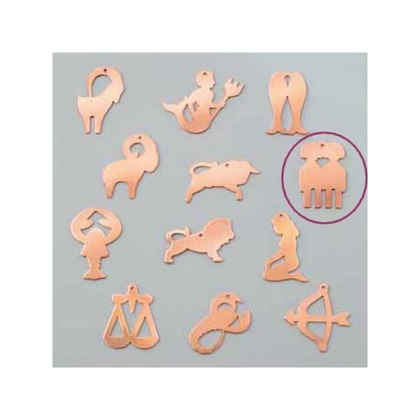 Pendentif en cuivre Gémeaux signe astrologique , 33 x 22 mm, ébauche émaillage à froid Efcolor - Photo n°1