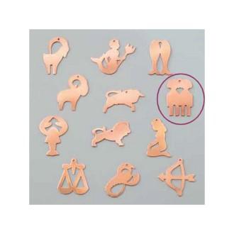 Pendentif en cuivre Gémeaux signe astrologique , 30 x 20 mm, ébauche émaillage froid Efcolor