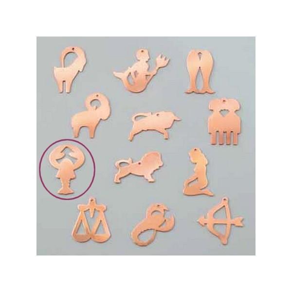 Pendentif en cuivre Cancer signe astrologique , 24 x 36 mm, ébauche émaillage froid Efcolor - Photo n°1