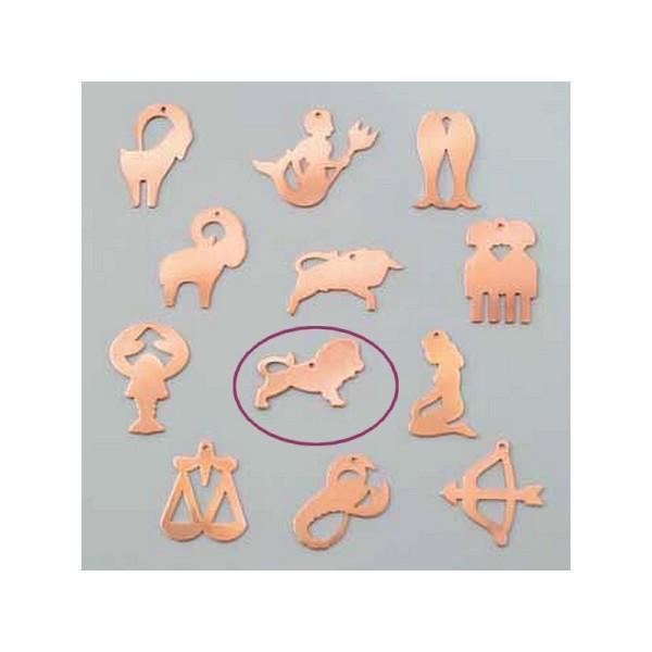 Pendentif en cuivre Lion signe astrologique , 35 x 22 mm, ébauche émaillage froid Efcolor - Photo n°1