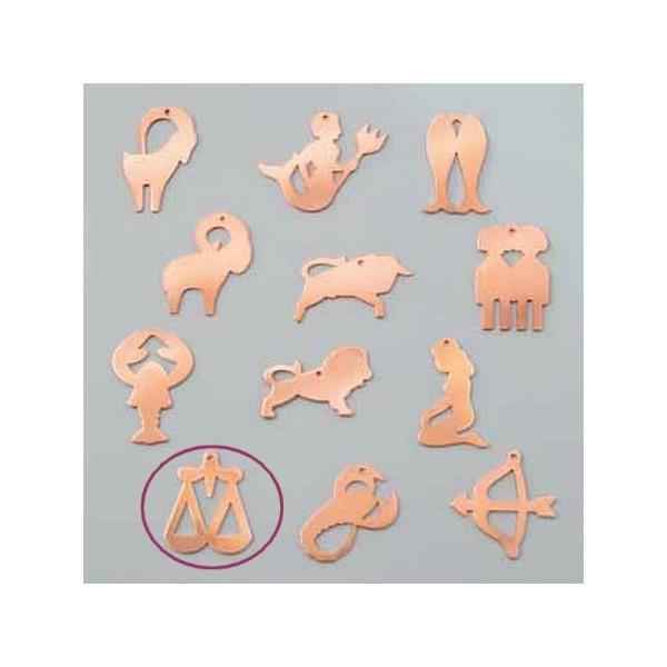 Pendentif en cuivre Balance signe astrologique , 27 x 32 mm, ébauche émaillage froid Efcolor - Photo n°1