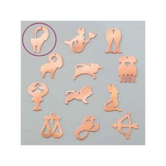 Pendentif en cuivre Capricorne signe astrologique , 22 x 35 mm, ébauche émaillage froid Efcolor