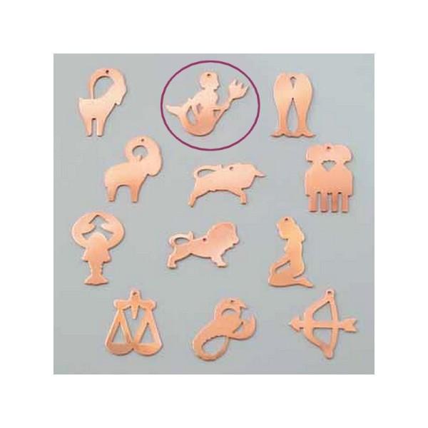 Pendentif en cuivre Verseau signe astrologique , 37x 33 mm, ébauche émaillage froid Efcolor - Photo n°1