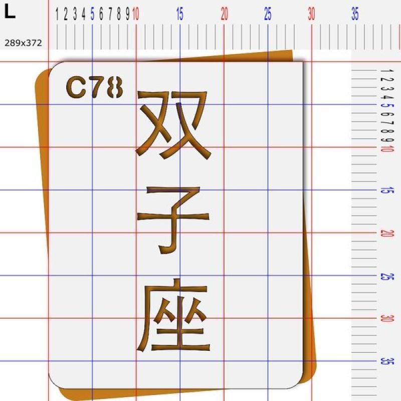 Pochoir astrologie signes chinois idéogrammes gémeaux - 4 tailles au choix - Photo n°5