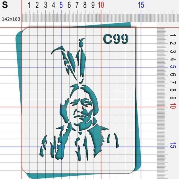 Pochoir chef chef indien Cochise Sitting Bull - 4 tailles au choix - Photo n°3