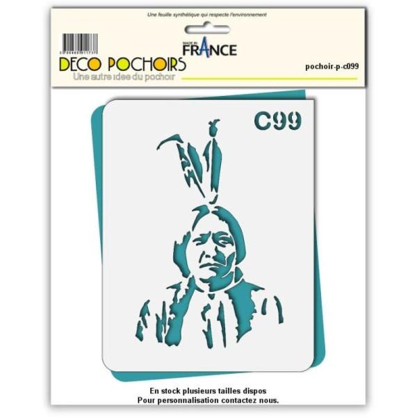 Pochoir chef chef indien Cochise Sitting Bull - 4 tailles au choix - Photo n°1