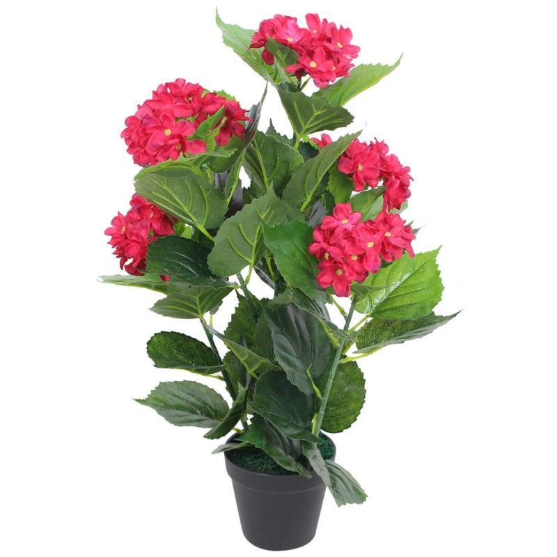 Vidaxl plante hortensia artificielle avec pot 60 cm rouge - Plante artificielle pour exterieur ...