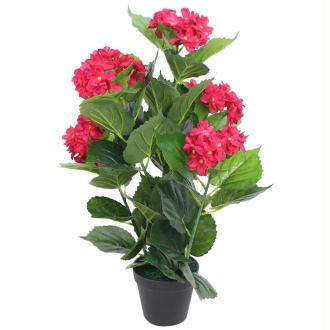 Vidaxl Plante Hortensia Artificielle Avec Pot 60 Cm Rouge