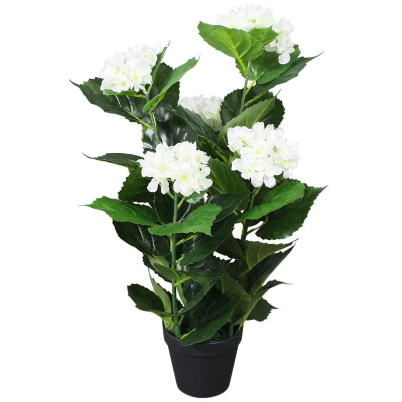 vidaxl plante hortensia artificielle avec pot 60 cm blanc fleurs et plantes artificielles. Black Bedroom Furniture Sets. Home Design Ideas