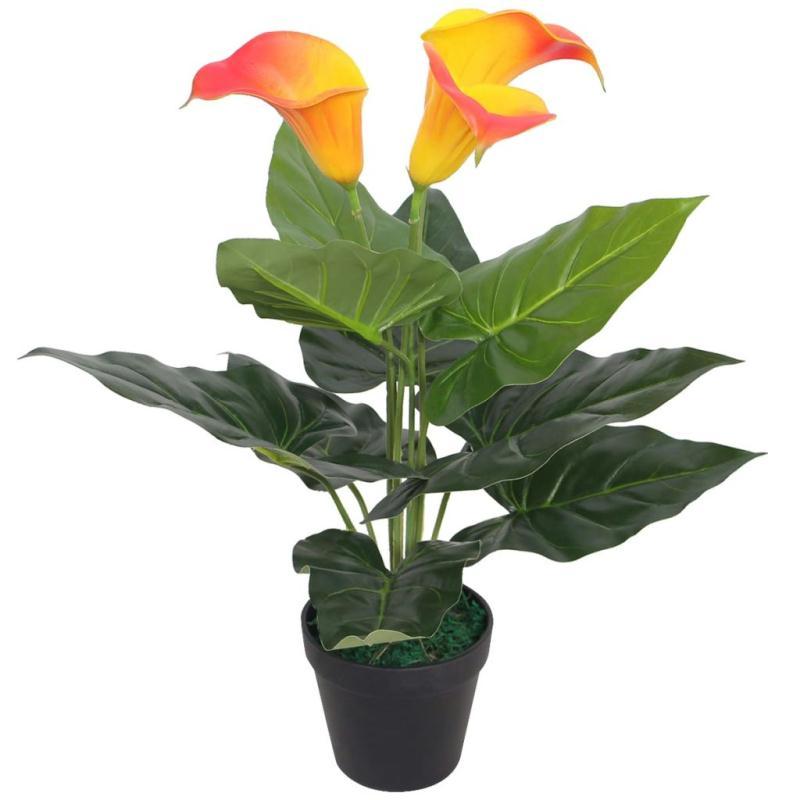 Vidaxl plante artificielle avec pot lis calla 45 cm rouge - Plante artificielle pour exterieur ...