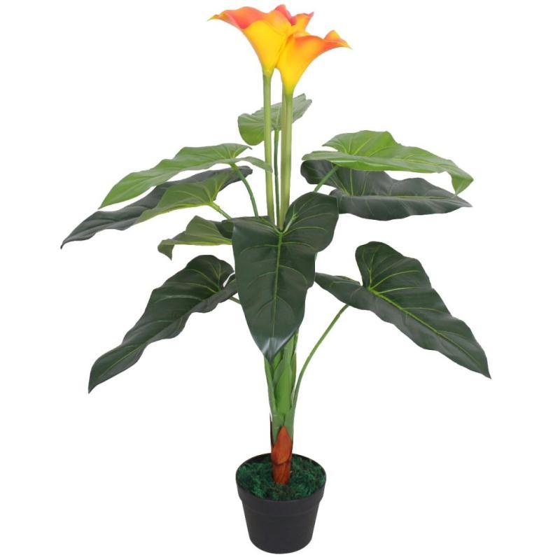 Vidaxl plante artificielle avec pot lis calla 85 cm rouge for Asperge plante interieur