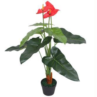 Vidaxl Plante Artificielle Avec Pot Anthurium 90 Cm Rouge Et Jaune