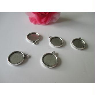 Lot de 5 supports ronds pour cabochon de 12 mm