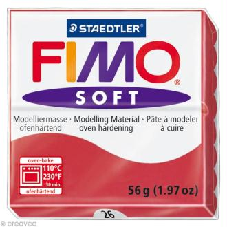 Pâte Fimo soft Rouge Cerise 26 - 56 gr