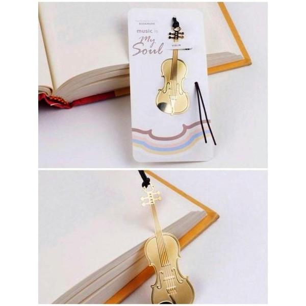 Marque pages signet en métal doré violon - Photo n°1