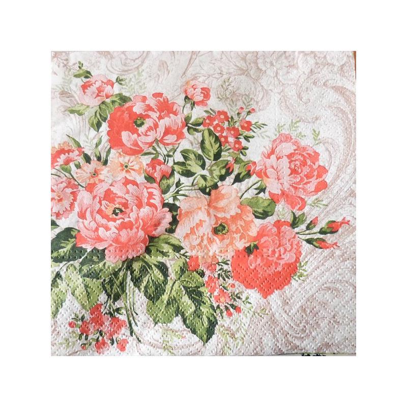 4 serviettes en papier d coupage collage 33 cm fleur rouge 808 serviette fleurs creavea. Black Bedroom Furniture Sets. Home Design Ideas