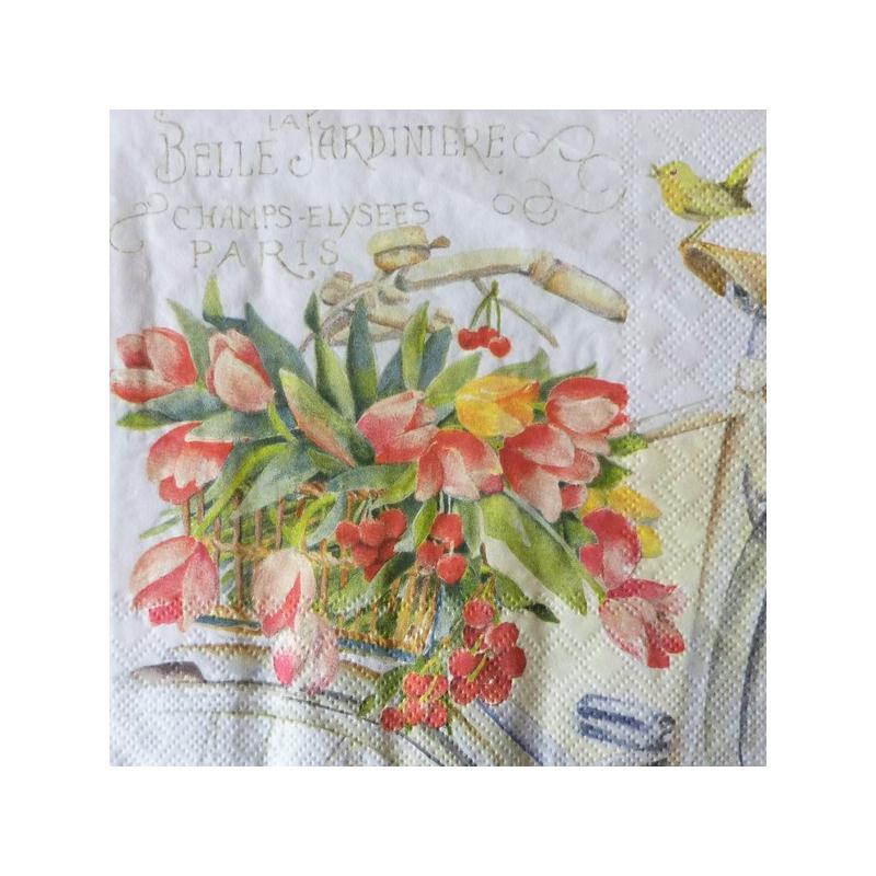4 serviettes en papier d coupage collage 33 cm velo fleur 807 serviette fleurs creavea. Black Bedroom Furniture Sets. Home Design Ideas