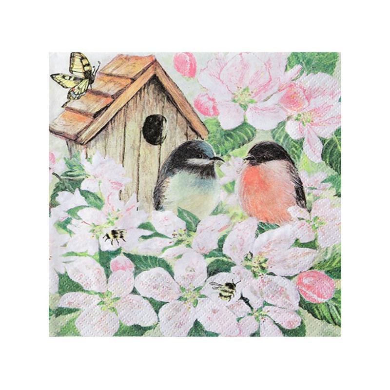 4 serviettes en papier d coupage collage 33 cm oiseau nichoir fleur serviette en papier. Black Bedroom Furniture Sets. Home Design Ideas
