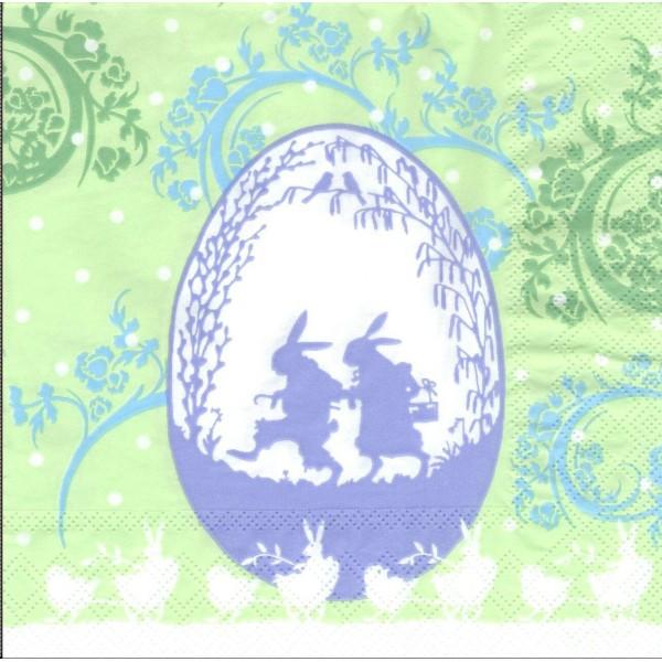 4 Serviettes en papier Pâques Œufs Lapin Format Lunch Decoupage Decopatch 2572-8091-46 Stewo - Photo n°1