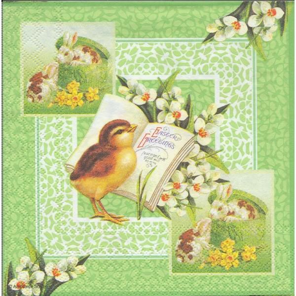 4 Serviettes en papier Pâques Poussin Lapin Format Lunch Decoupage Decopatch 23301510 Ambiente - Photo n°1