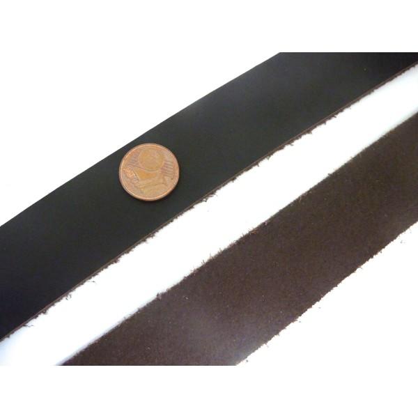 1m Lanière Cuir Largeur 24,5mm De Couleur Marron Foncé - Photo n°2