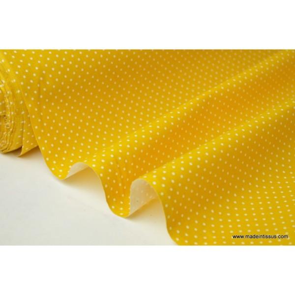 Tissu coton imprimé petits pois fond Jaune - Photo n°2