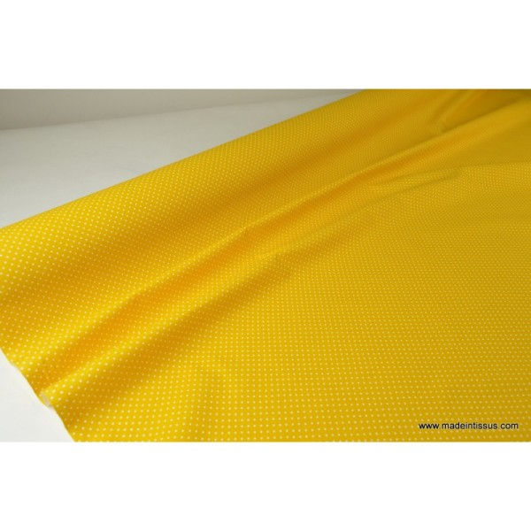 Tissu coton imprimé petits pois fond Jaune - Photo n°3